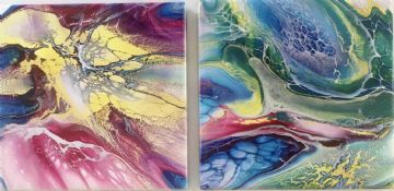 Set of 2 Hand Painted Ceramic Coasters Multi Coloured made in UK (1)